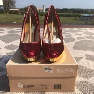 Michael Kors red & gold sequin pumps
